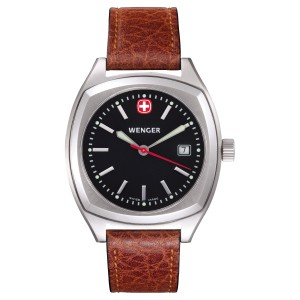 Epoch, Black Dial, Brown Leather Strap