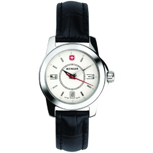 Alpine Winter, White Dial, Black Leather Strap, Ladies