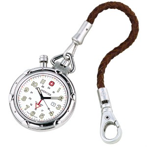Standard Issue Pocket Watch, White Dial, Brown Leather Strap