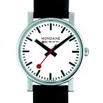 EVO Gents - White Dial, Black Leather Strap